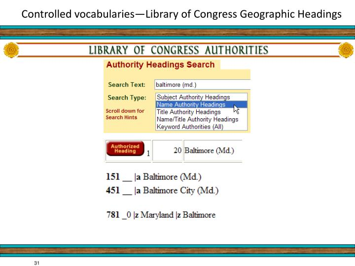 Controlled vocabularies—Library of Congress Geographic Headings