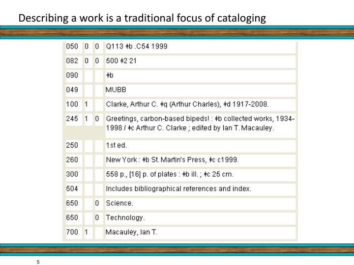 Describing a work is a traditional focus of cataloging