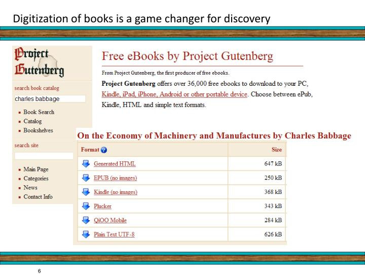 Digitization of books is a game changer for discovery