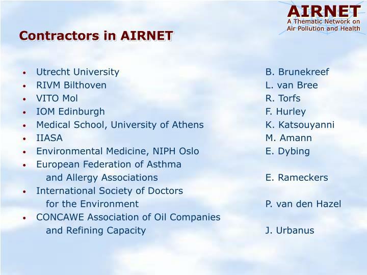 Contractors in AIRNET