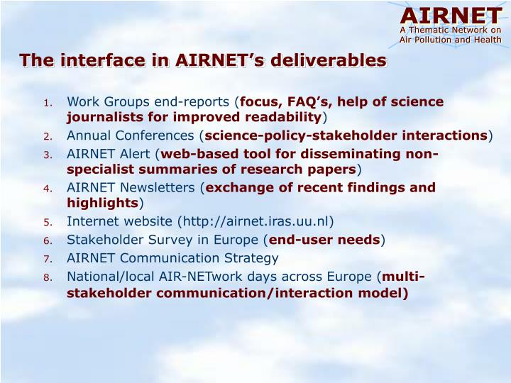 The interface in AIRNET's deliverables