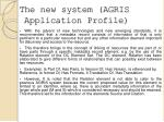 the new system agris application profile