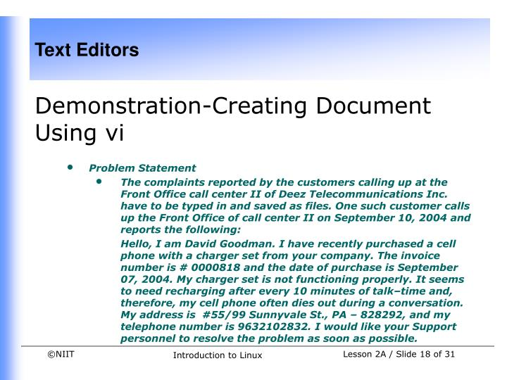 Demonstration-Creating Document Using vi