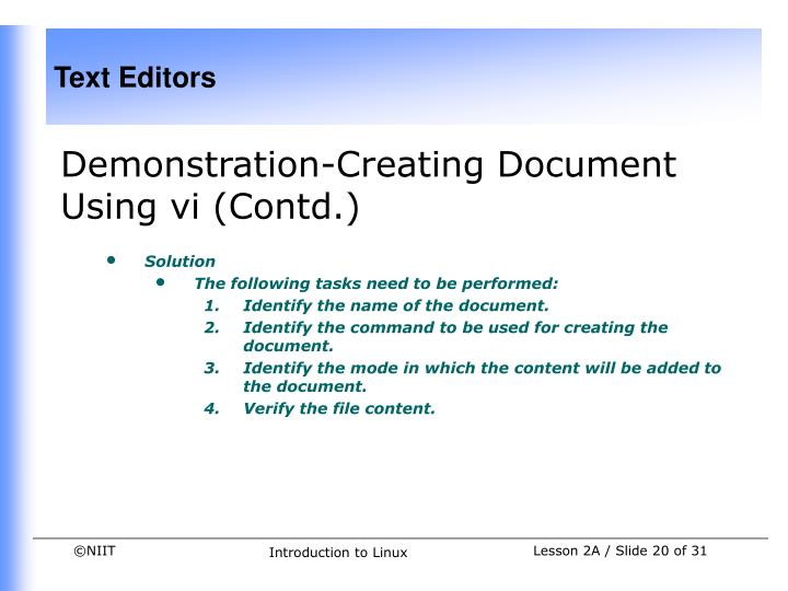 Demonstration-Creating Document Using vi (Contd.)