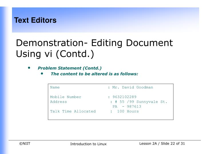 Demonstration- Editing Document Using vi (Contd.)