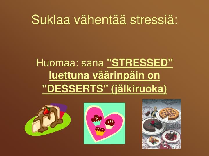 Suklaa vähentää str
