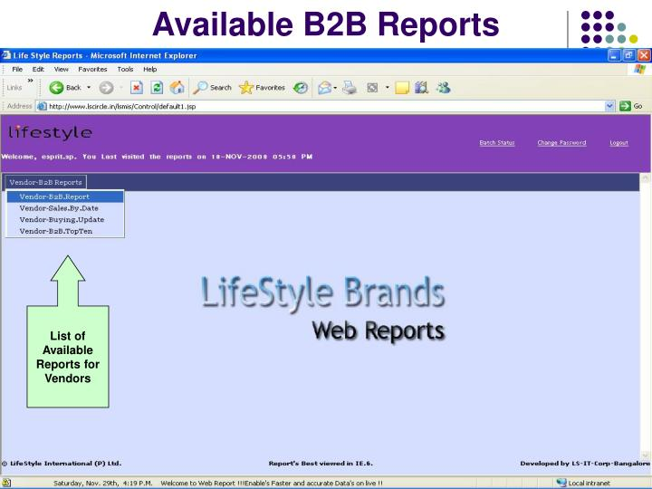 Available B2B Reports