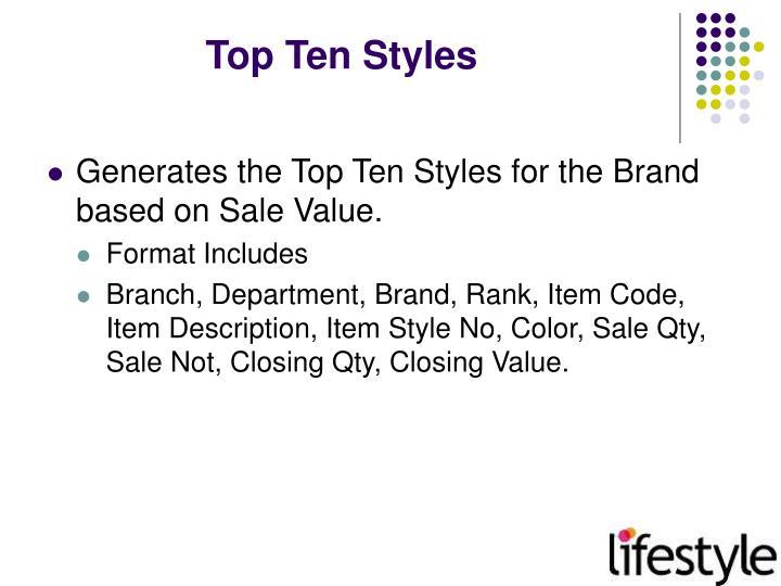 Top Ten Styles