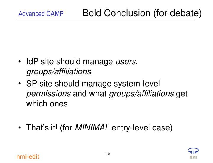 Bold Conclusion (for debate)