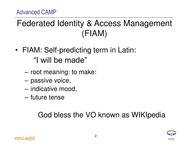 Federated identity access management fiam