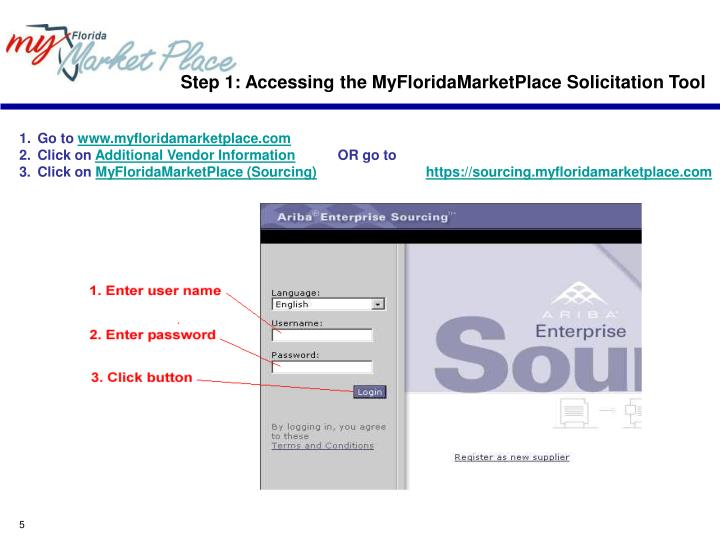 Step 1: Accessing the MyFloridaMarketPlace Solicitation Tool