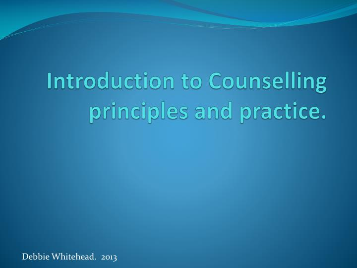 introduction to counselling principles and practice n.