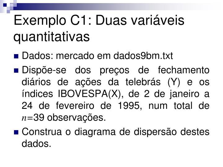 Exemplo C1: Duas variáveis quantitativas