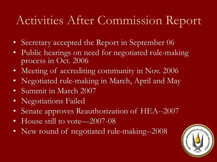 Activities After Commission Report