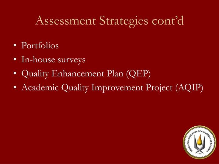 Assessment Strategies cont'd