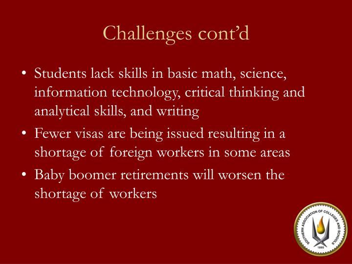 Challenges cont d
