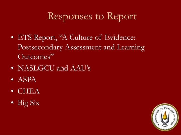 Responses to Report
