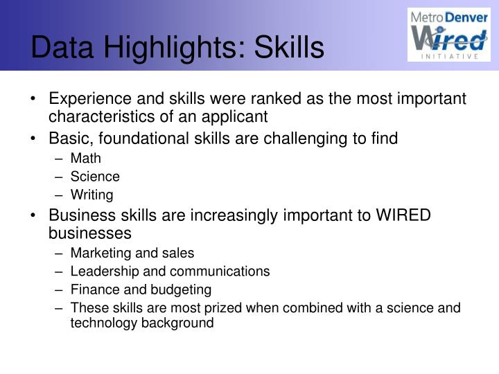 Data Highlights: Skills
