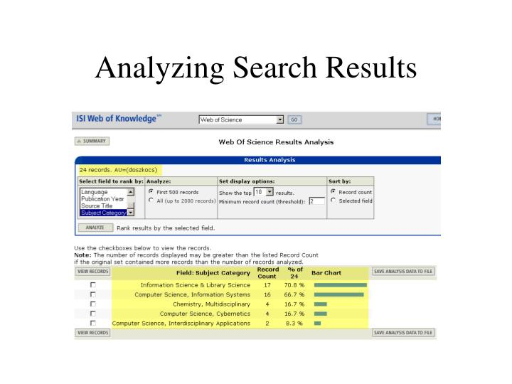 Analyzing Search Results