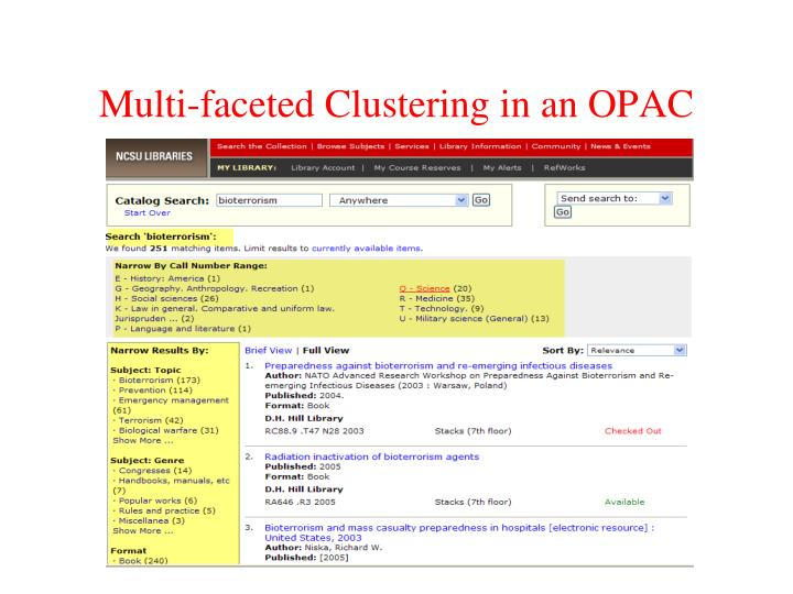 Multi-faceted Clustering in an OPAC