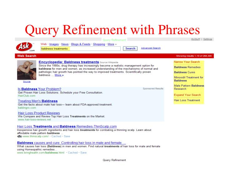 Query Refinement with Phrases
