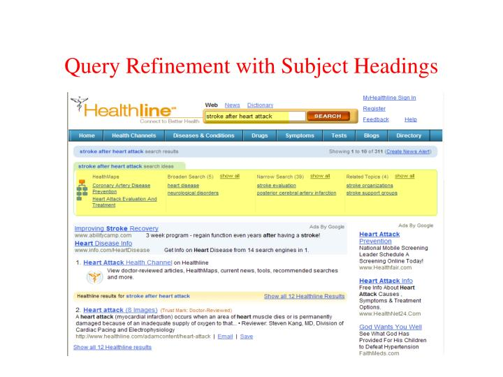 Query Refinement with Subject Headings