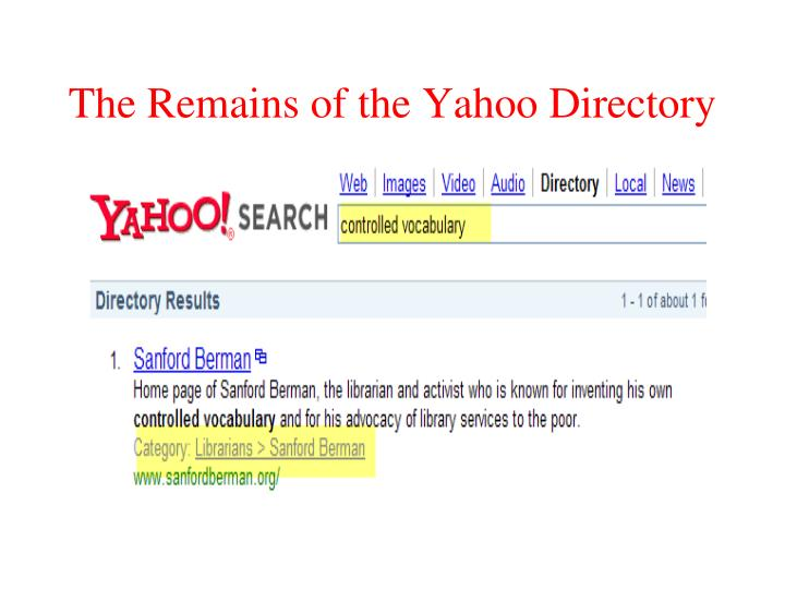 The Remains of the Yahoo Directory