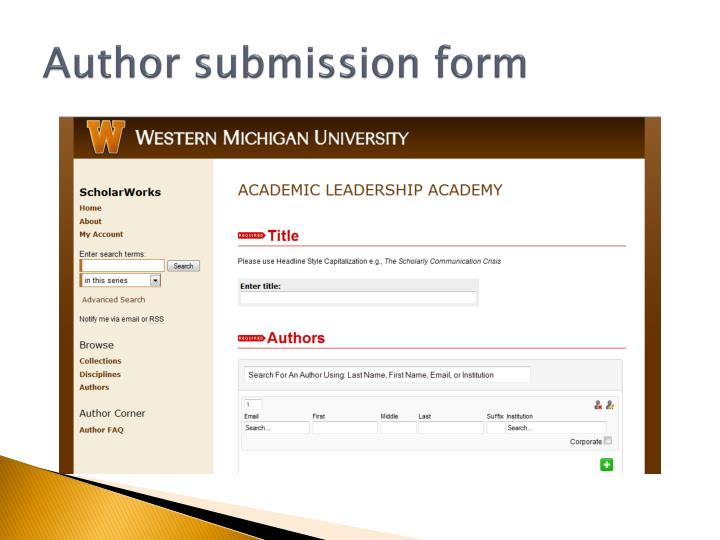 Author submission form