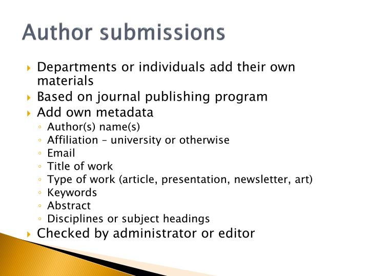 Author submissions