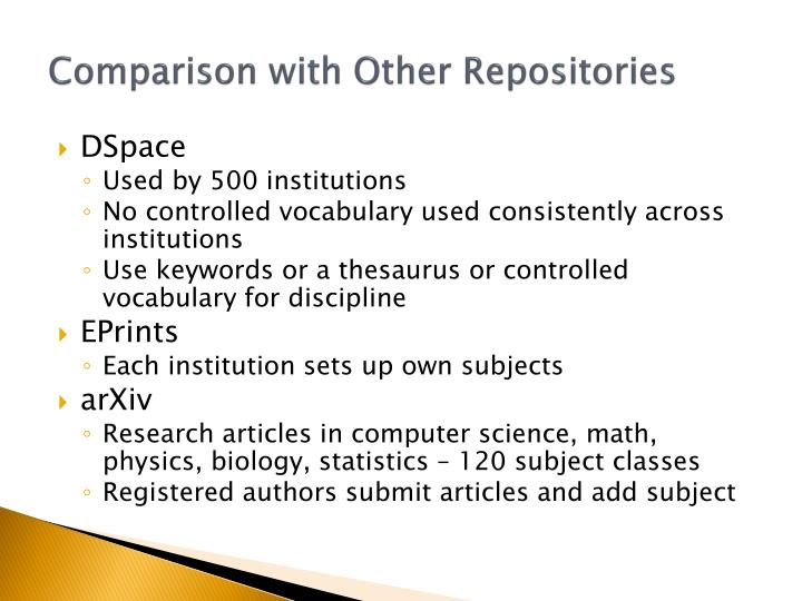 Comparison with Other Repositories