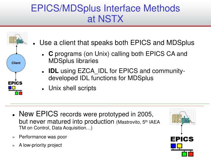 Epics mdsplus interface methods at nstx
