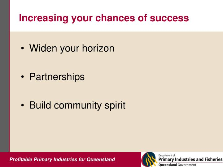 Increasing your chances of success