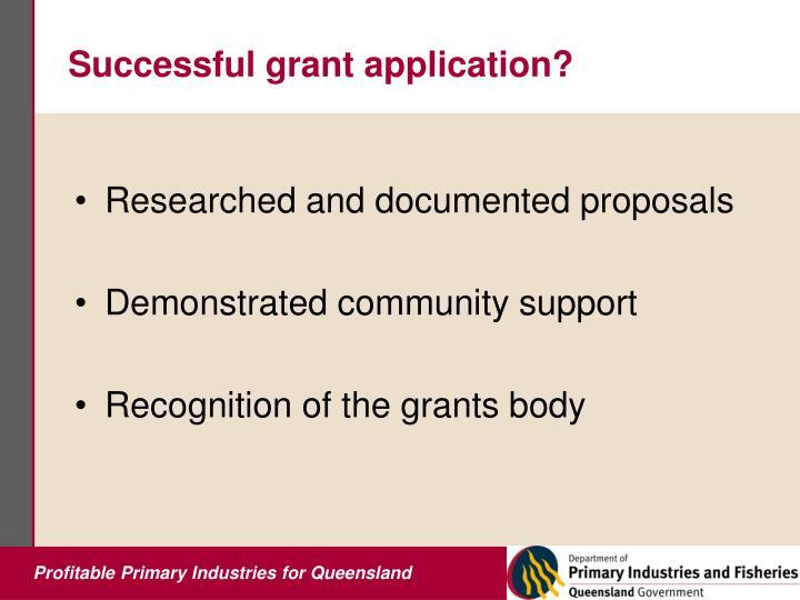 Successful grant application?