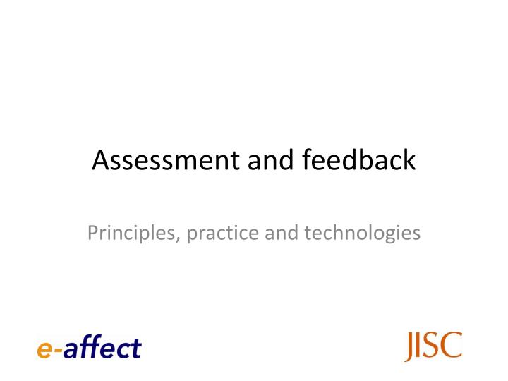 assessment and feedback n.