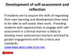 development of self assessment and reflection