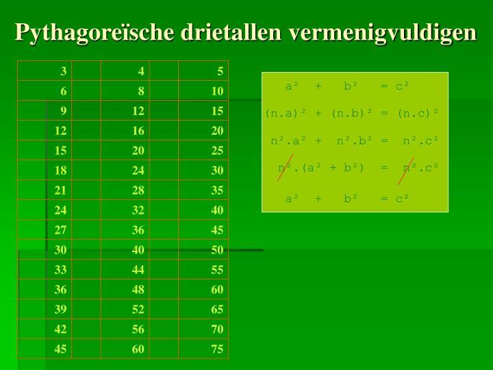 Pythagore sche drietallen vermenigvuldigen
