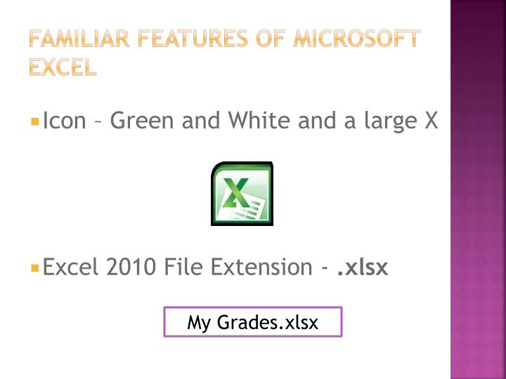 Familiar features of microsoft excel