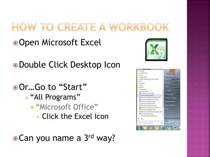 How to create a workbook