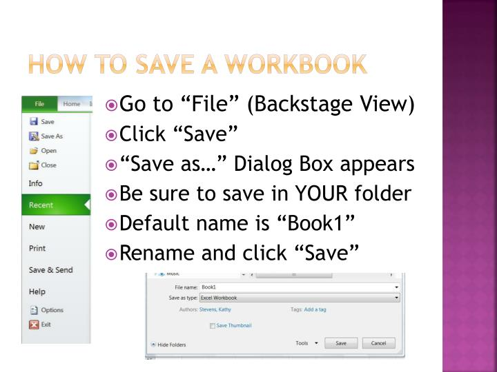 How to save a workbook