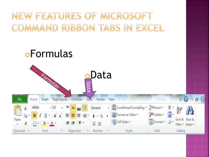 new Features of Microsoft Command Ribbon tabs in Excel