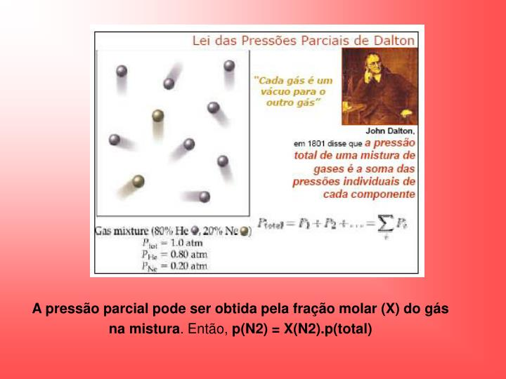 A pressão parcial pode ser obtida pela fração molar (X) do gás na mistura