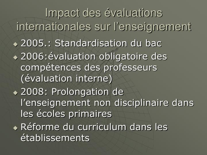 Impact des évaluations internationales sur l'enseignement