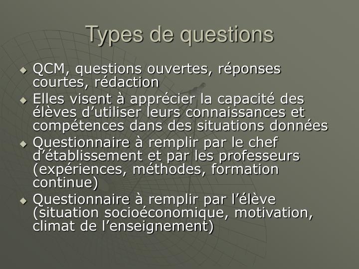 Types de questions