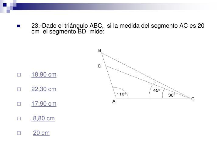 23.-Dado el triángulo ABC,  si la medida del segmento AC es 20 cm  el segmento BD  mide: