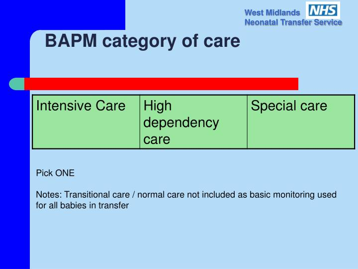 BAPM category of care