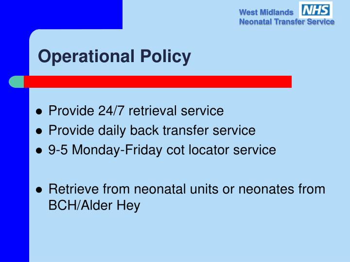 Operational policy