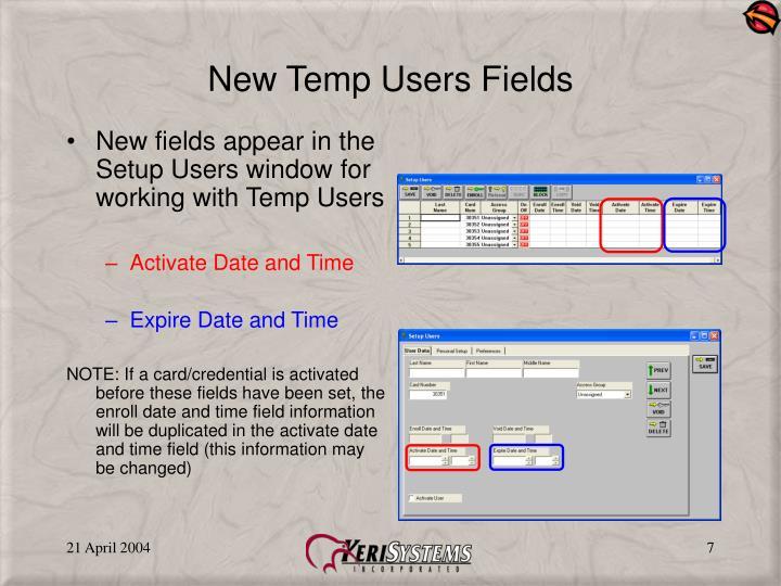 New Temp Users Fields