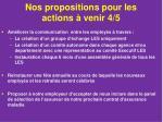 nos propositions pour les actions venir 4 5