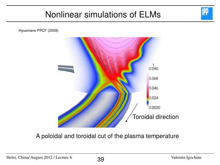 Nonlinear simulations of ELMs