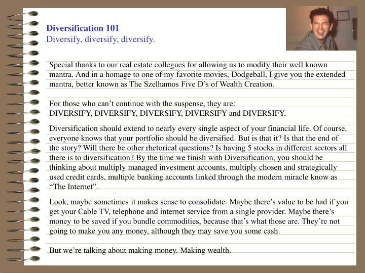 Diversification 101 diversify diversify diversify